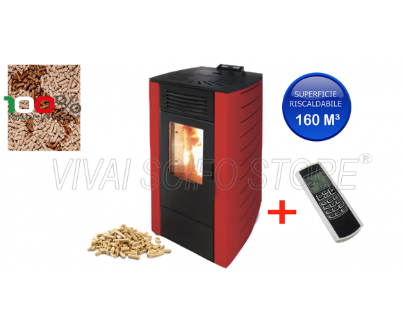 Stufa a Pellet King 8 Bordeaux Kw 7 + Telecomando