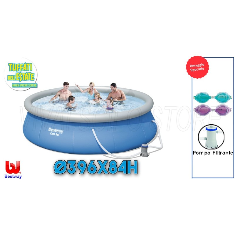 Acquista online piscina bestway rotonda fuori terra cm 396 for Piscine on line
